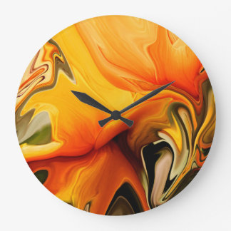 Clock - Abstract Floral Dance in Shades of Orange