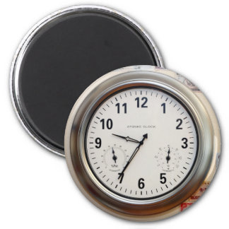 Clock and Currency 6 Cm Round Magnet