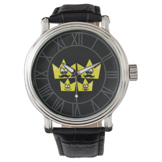 Clock Black Leather Vintage - Gay Family Men Watch