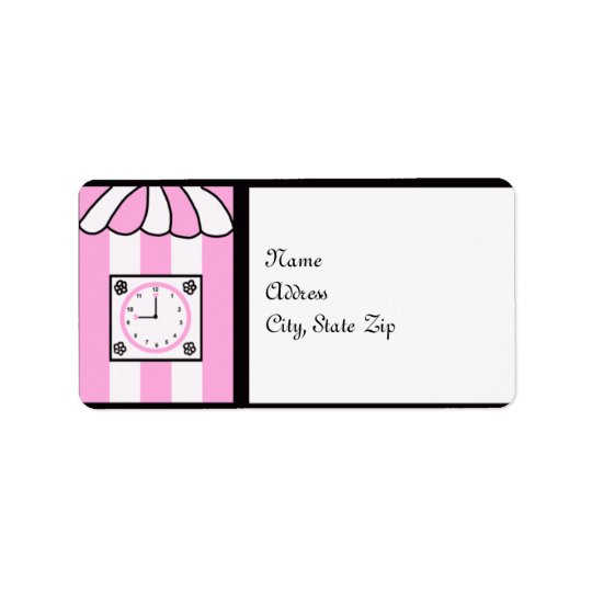 Clock Bridal Shower Pink and White Stripes Label