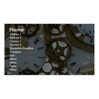 Clock cogs in ice business card
