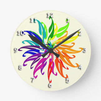Clock - Color Wheel Leaves