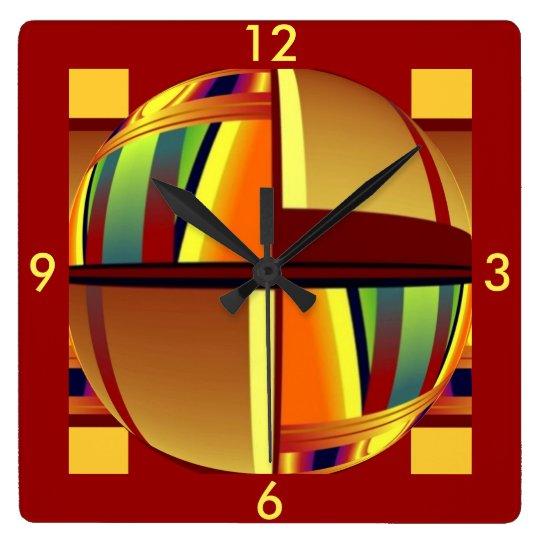 Clock -Colour World Pattern- Bright Rainbow