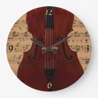 Double Bass with music clock