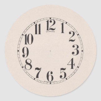 CLOCK FACE CLASSIC ROUND STICKER