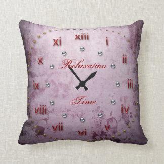 Clock Face Grunge Maroon Cushion