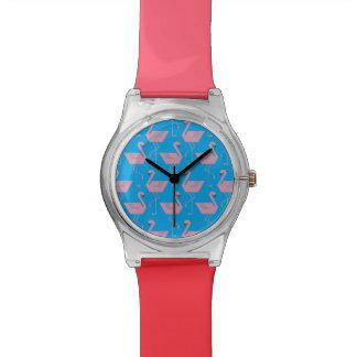 Clock flamingos pink wrist watches