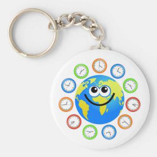 Clock Globe Basic Round Button Key Ring