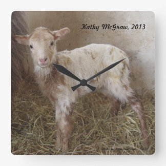 Clock: lamb KathyMcGraw Square Wall Clock