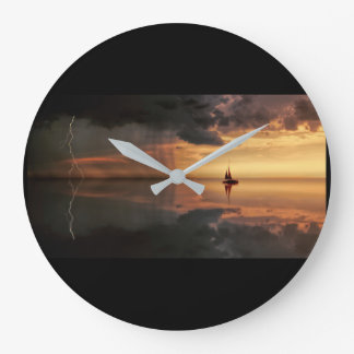 clock, large, round, distant rain storm, grey hand large clock