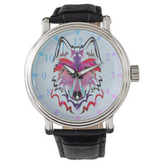 clock multicoloured wolf watch