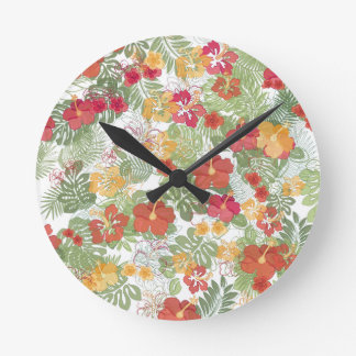 Clock of tropical flowers
