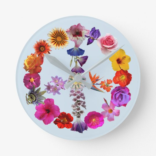 Clock peace sign made of photographs of flowers