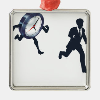 Clock Race Business Man Concept Silver-Colored Square Decoration