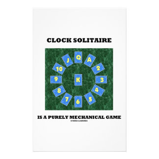 Clock Solitaire Is A Purely Mechanical Game Personalised Stationery