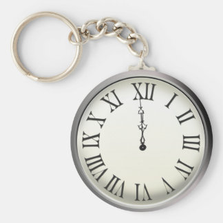 Clock Strikes Midnight New Year's Eve Basic Round Button Key Ring