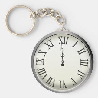Clock Strikes Midnight New Year's Eve Key Ring