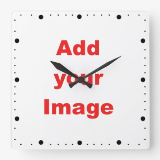 Clock template - Minute markers black - Add Image