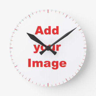Clock template - Red markers - Add your Image