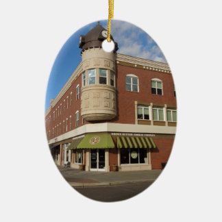 Clock Tower, Downtown Paso Robles, California Double-Sided Oval Ceramic Christmas Ornament