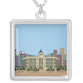Clock Tower Silver Plated Necklace