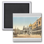 Clock tower, St. Mark's, and Doges' Palace, Piazze Square Magnet