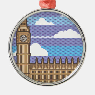 Clock Tower vector Silver-Colored Round Decoration