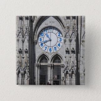 Clock towers at the National Basilica, Ecuador 15 Cm Square Badge