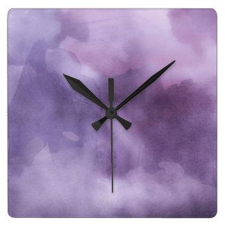 Clock - Watercolor Purples