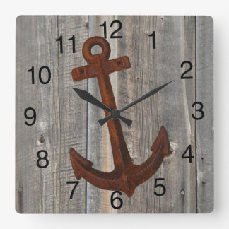 Clock with Barn Wood Background and Rusty Anchor