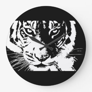 Clock with black and white print Tiger