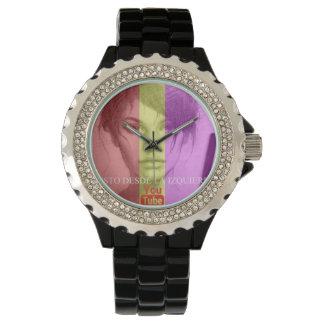 Clock with diamonds imitation watch