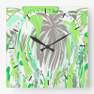 Clock with Greenery Leaves and Plants