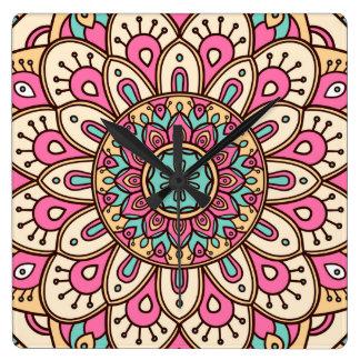 Clock with Mandala Floral Pattern Print