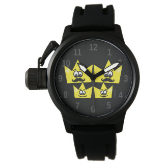 Clock with Protector of Crown Rubber Bracelet Watch