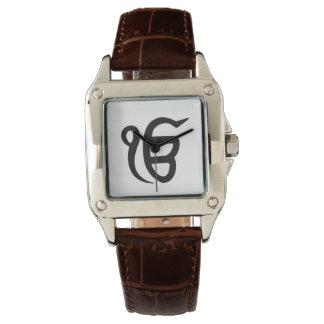 """Clock woman black-brown leather """"Ek NGO Kar """" Watch"""