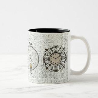 Clocks - Faces Two-Tone Coffee Mug