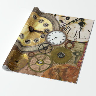 Clocks Rusty Old Steampunk Art Wrapping Paper
