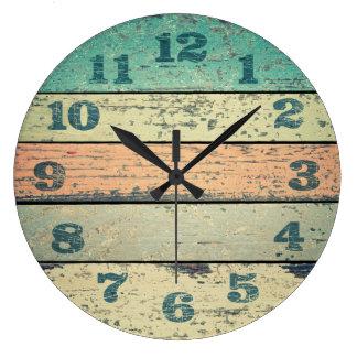 Clocks Shabby Beach Boards Rustic Decorative Wood
