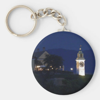 clocktower basic round button key ring