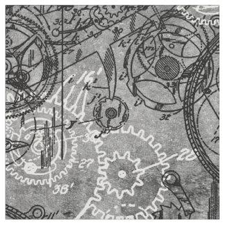 Clockwork Collage Grey Fabric