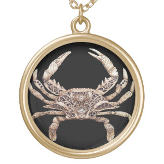 Clockwork Crab Pendant - Large Gold
