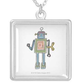 Clockwork Robot Silver Plated Necklace