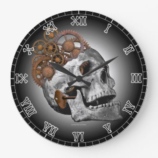 Clockwork Skull Cogs Steampunk Skeleton Gothic Large Clock