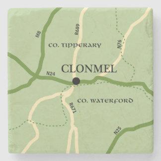 Clonmel County Tipperary Ireland Road Map Stone Coaster