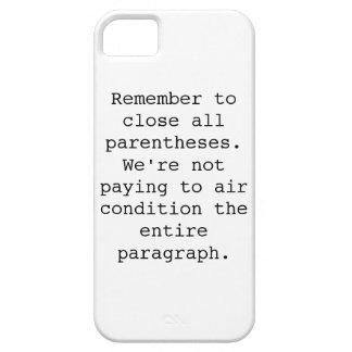 Close Parentheses phone case iPhone 5 Cases