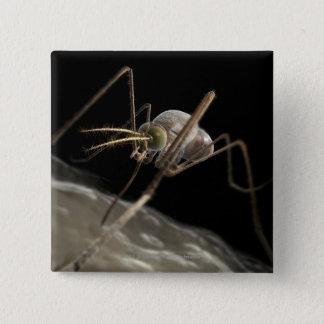 Close up 3d mosquito biting 15 cm square badge