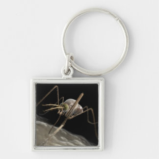 Close up 3d mosquito biting Silver-Colored square key ring