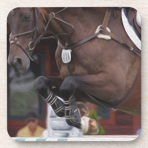 Close-up Action-Jumping Horse Coasters