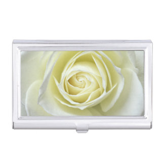 Close up details of white rose business card holder